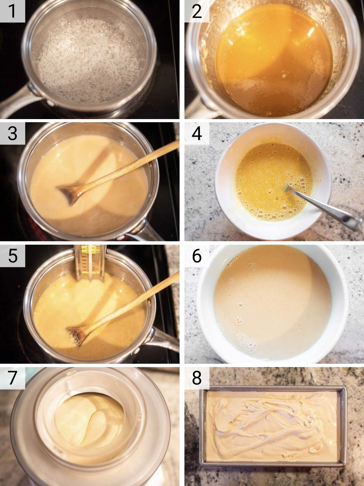 process shots of how to make salted caramel ice cream