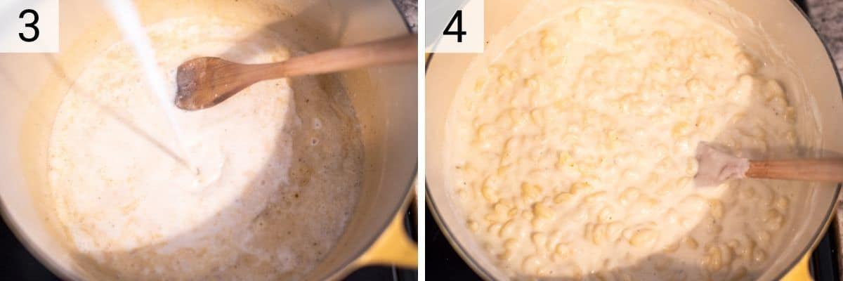 process shots of adding mix before stirring in cheese and pasta