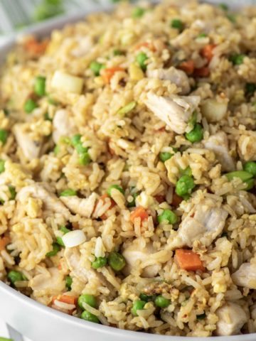 chicken fried rice in bowl