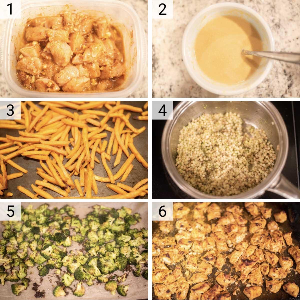 process shots of how to make chicken shawarma bowls