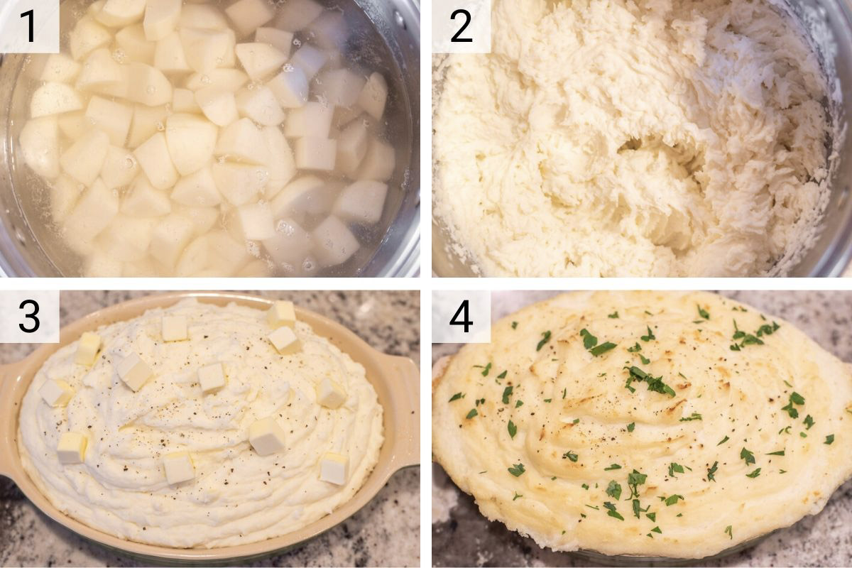 process shots of how to make cream cheese mashed potatoes