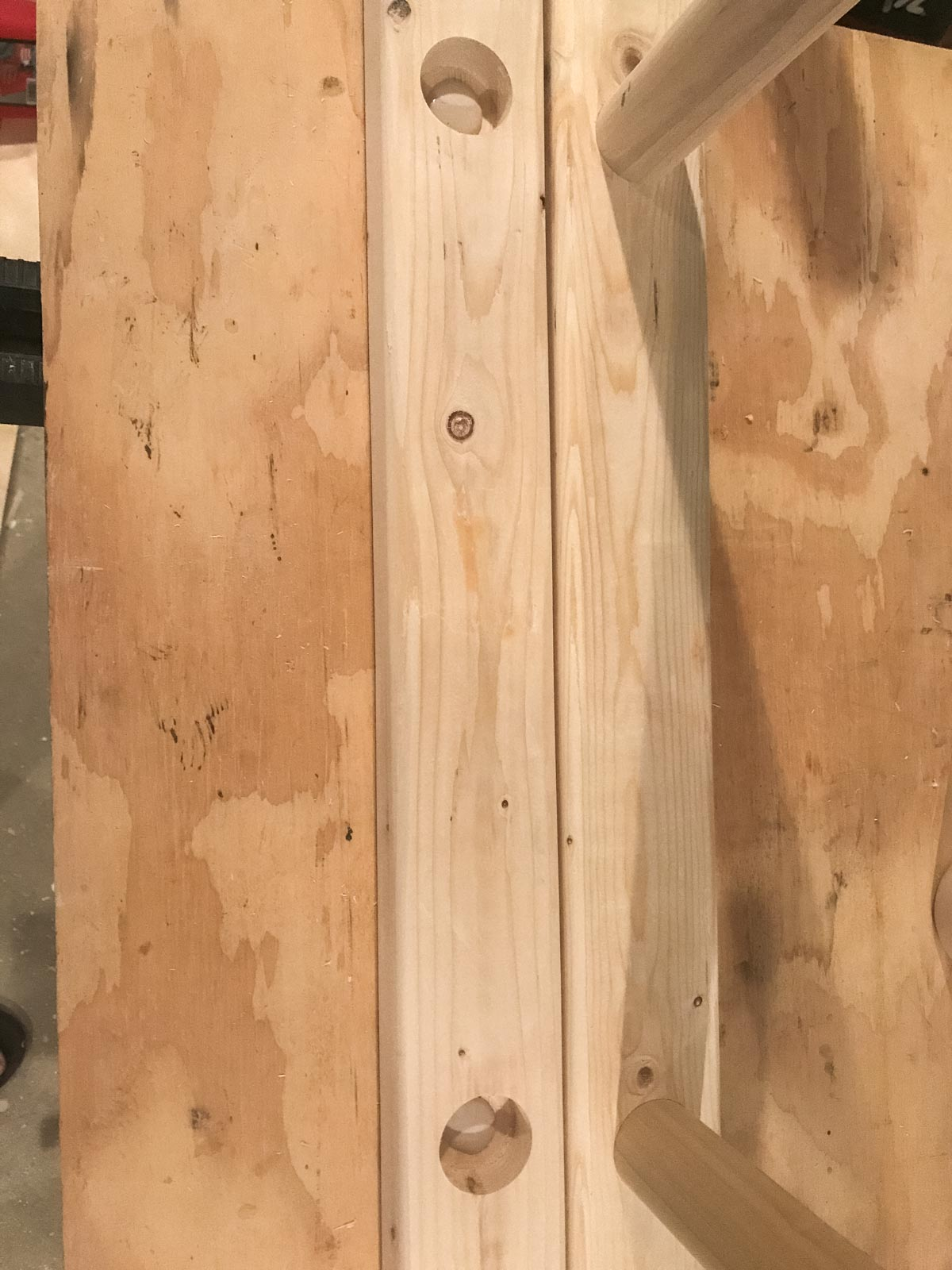 lining ladder leg with other ladder leg with dowels