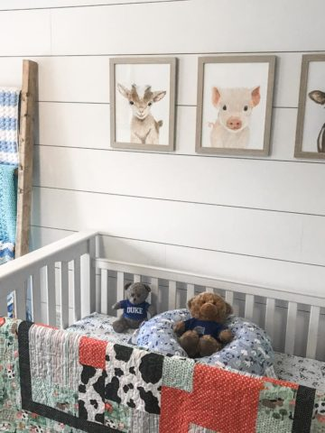 DIY shiplap wall with pictures, ladder and crib