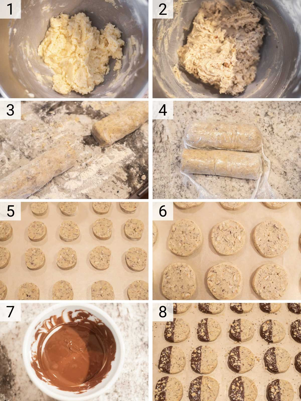 process shots of how to make hazelnut cookies