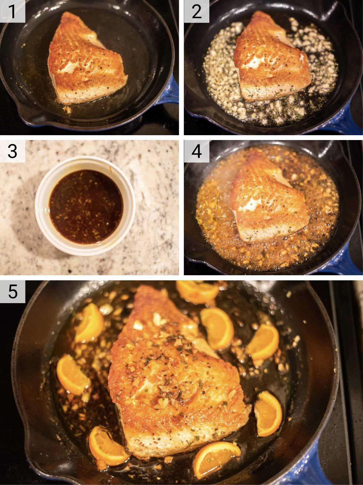 process shots of how to make orange glazed salmon