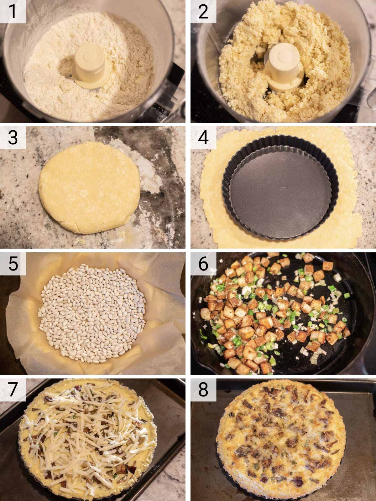 process shots of how to make bacon quiche