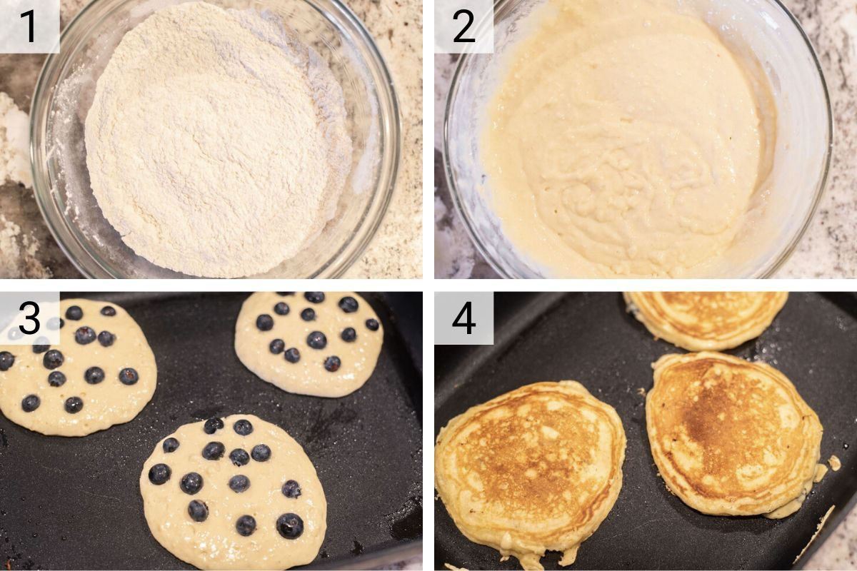 process shots of how to make blueberry pancakes