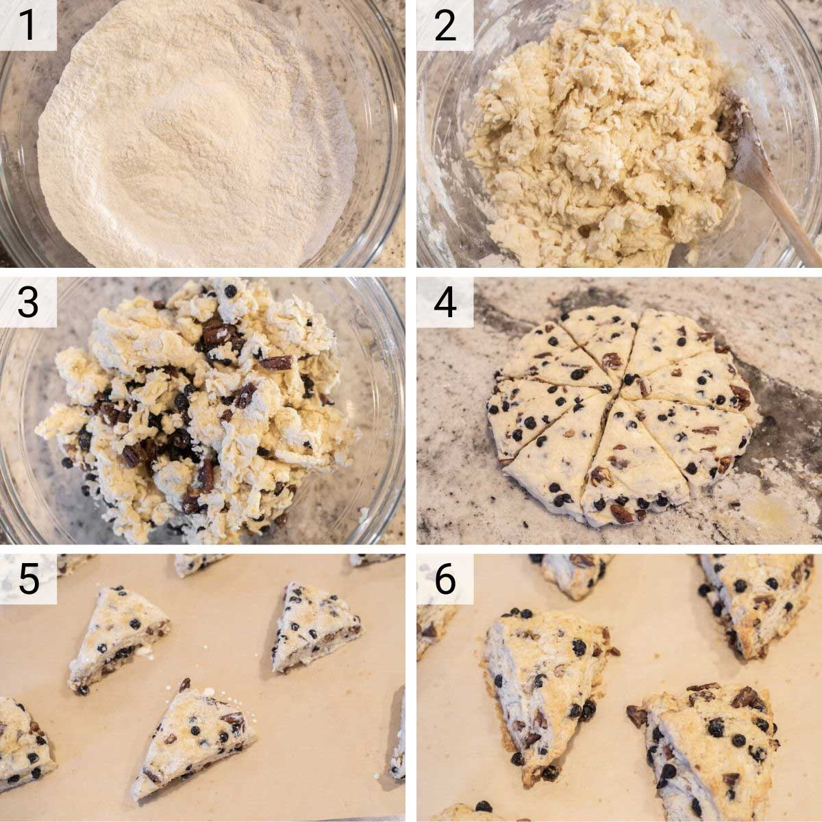 process shots of how to make blueberry scones