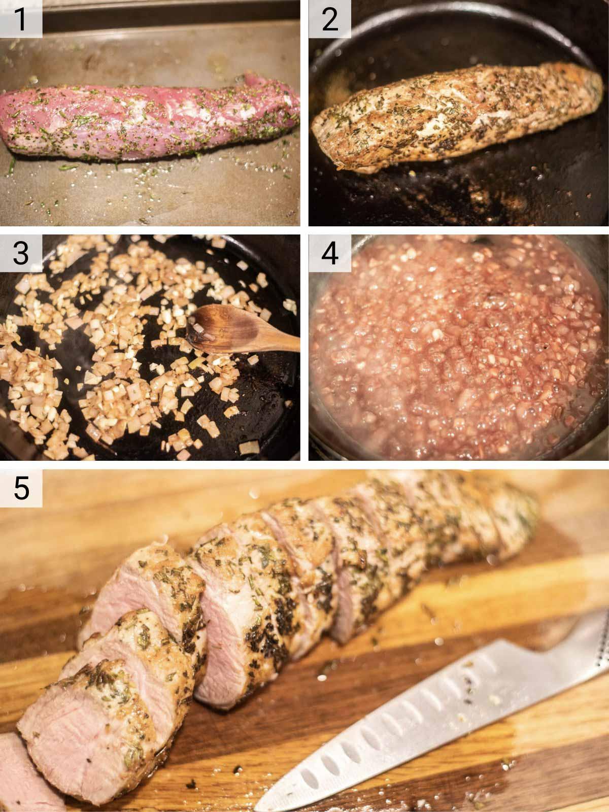 process shots of how to make rosemary pork tenderloin