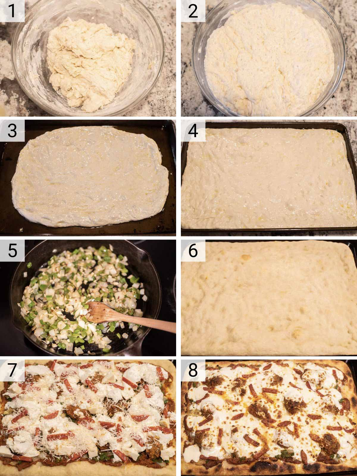 process shots of how to make Sicilian-style pizza