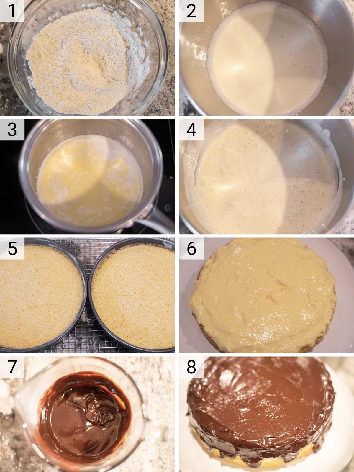 process shots of how to make Boston cream pie