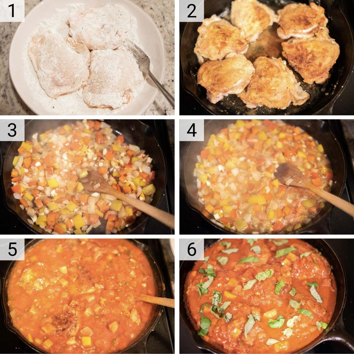 process shots of how to make chicken cacciatore