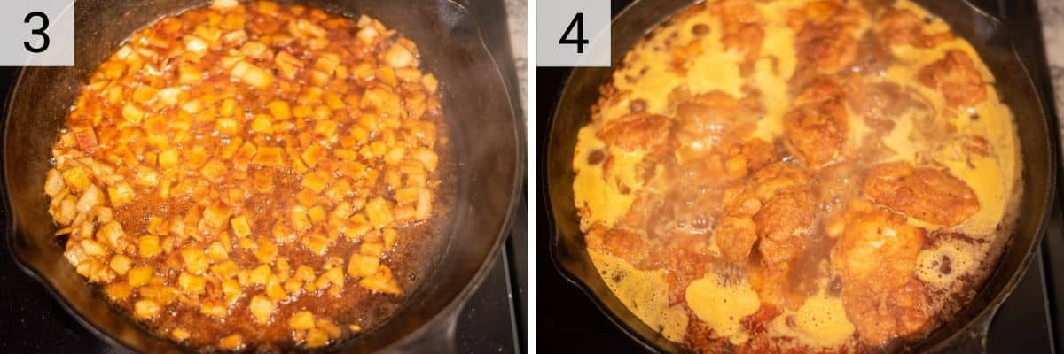 process shots of cooking onion then adding chicken and stock back to skillet