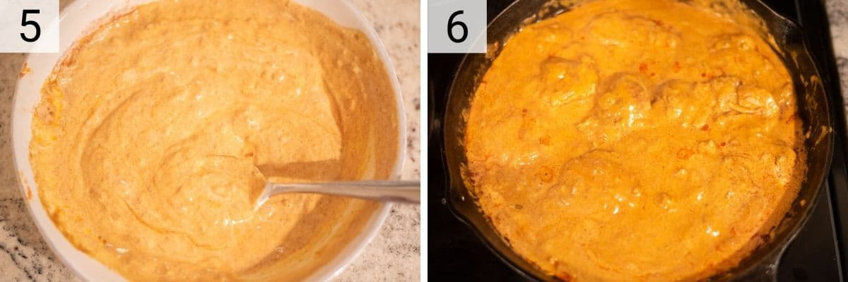 process shots of mixing sour cream with flour before adding to sauce as well as additional sour cream