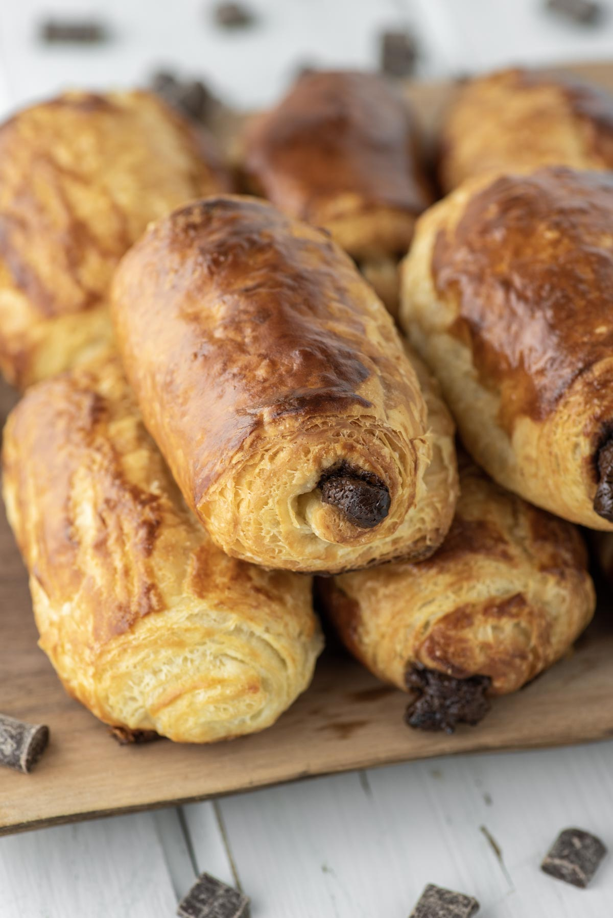stacked chocolate croissants