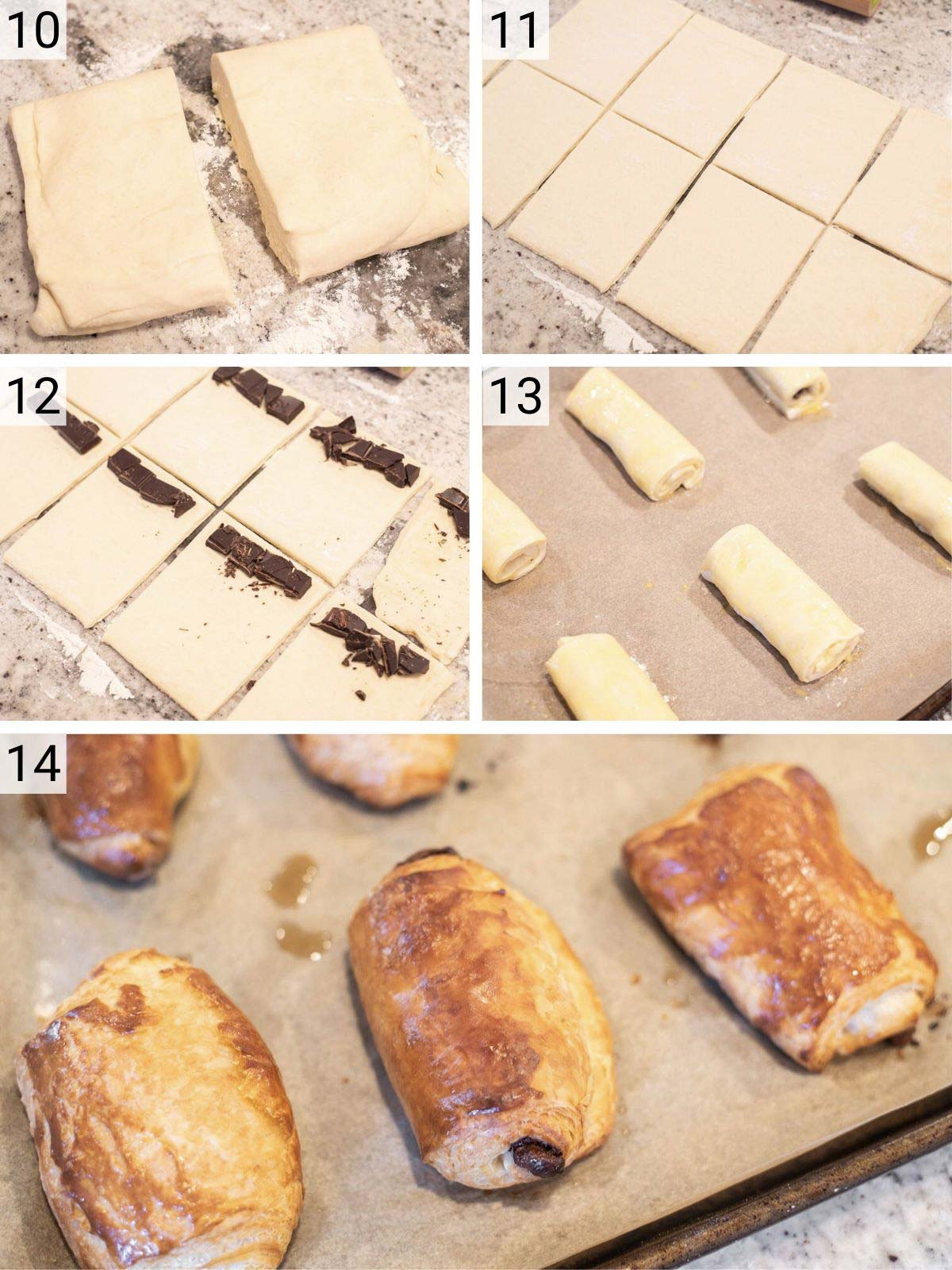 cutting croissant dough and rolling up with chocolate and baking
