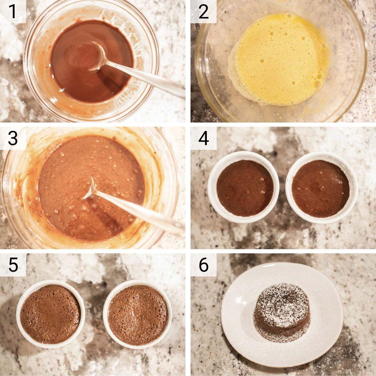 process shots of how to make chocolate lava cake