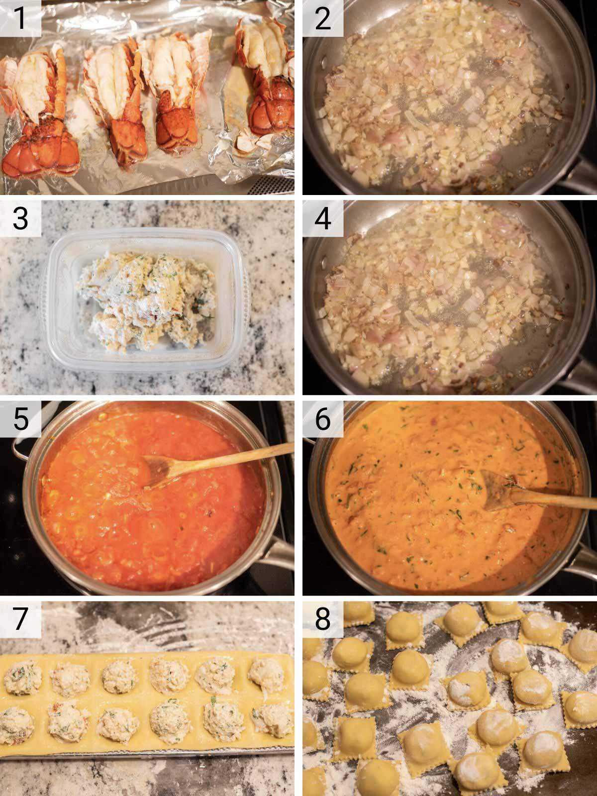 process shots of how to make lobster ravioli