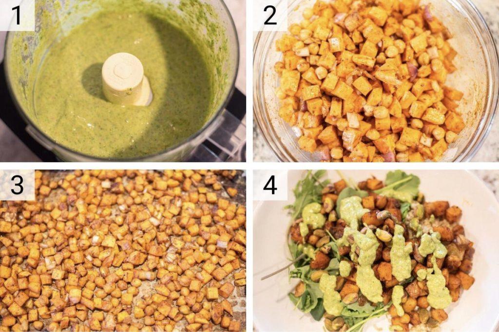 process shots of how to make quinoa sweet potato salad