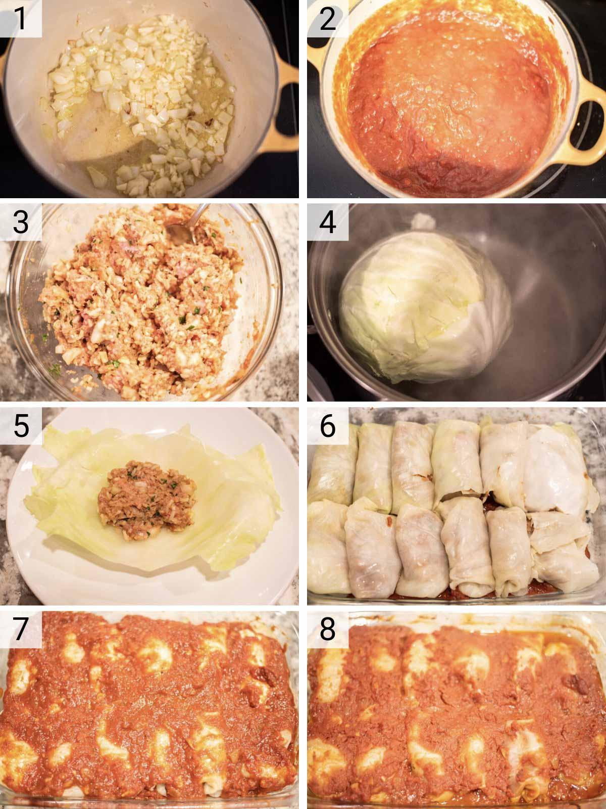 stuffed cabbage rolls process shots