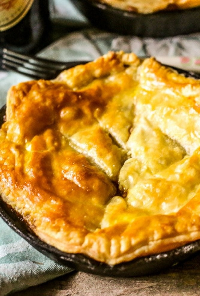 beef mushroom guinness pie in plate