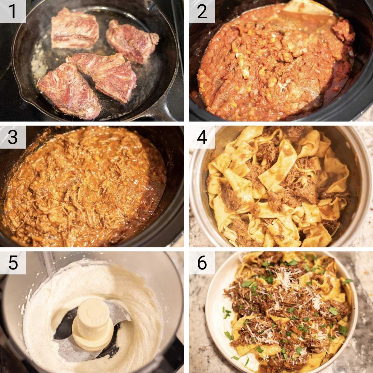 process shots of how to make beef ragu