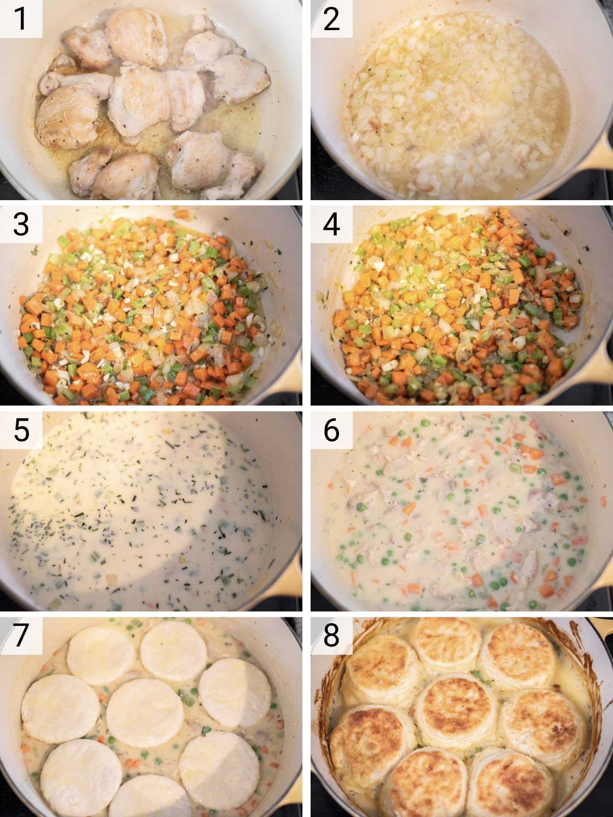 process shots of how to make chicken biscuit pot pie