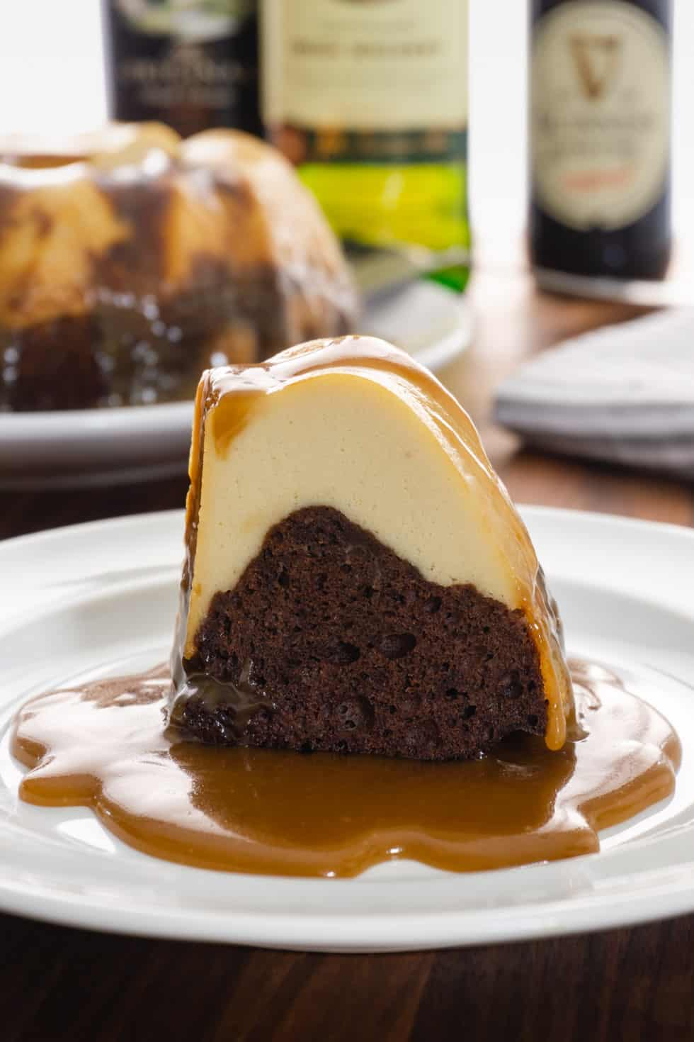 Instant Pot Irish car bomb chocoflan on white plate