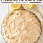 overhead shot of lemon meringue pie in glass pie dish on white background