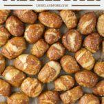 overhead shot of pretzel bites on baking sheet