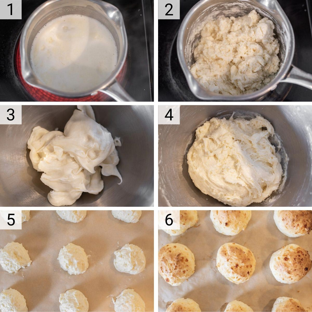 process shots of how to make Brazilian cheese bread