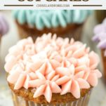 carrot cake cupcake with pink mascarpone frosting
