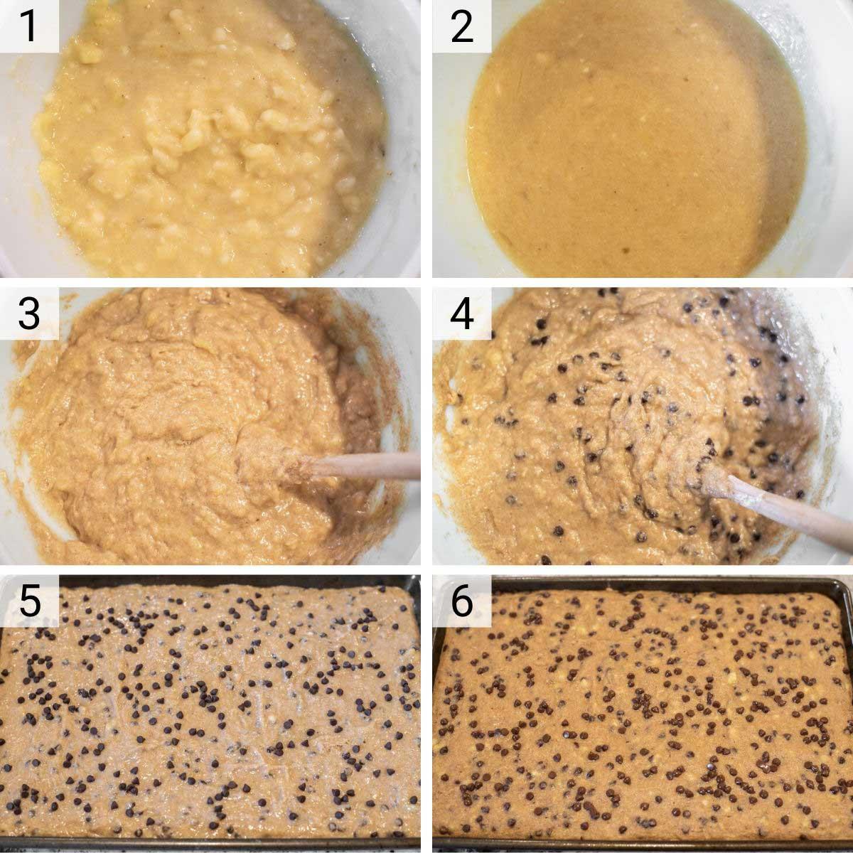 process shots of how to make banana bars