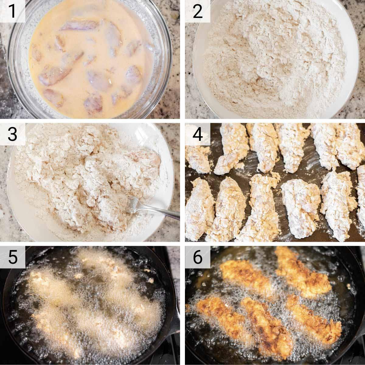 process shots of how to make fried chicken