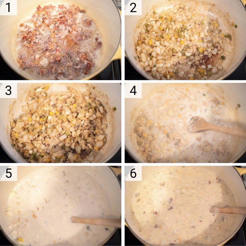 process shots of how to make loaded potato soup