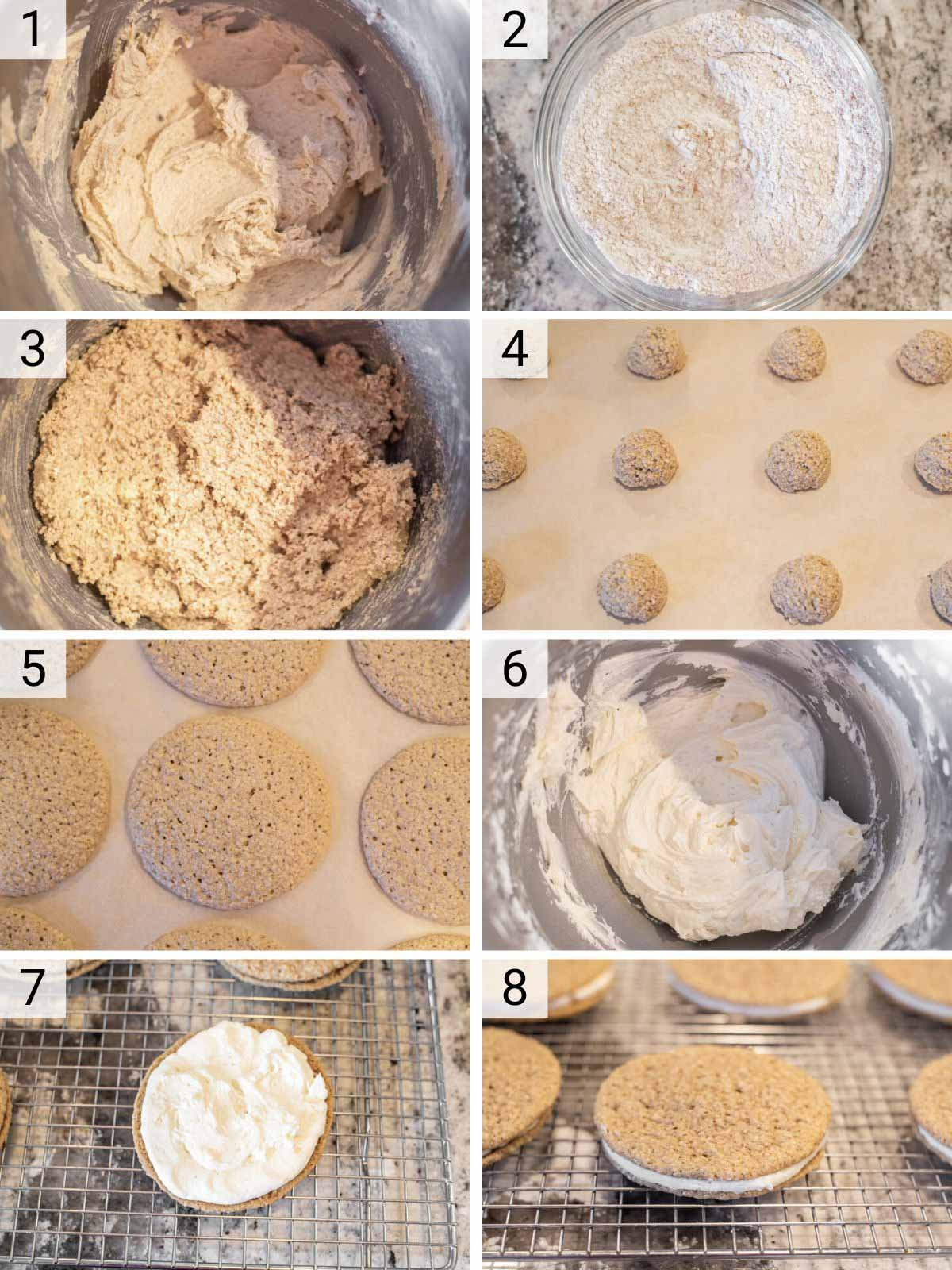 process shots of how to make oatmeal cream pies