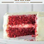 red velvet cake on white cake stand