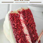 slice of red velvet cake on white plate with fork