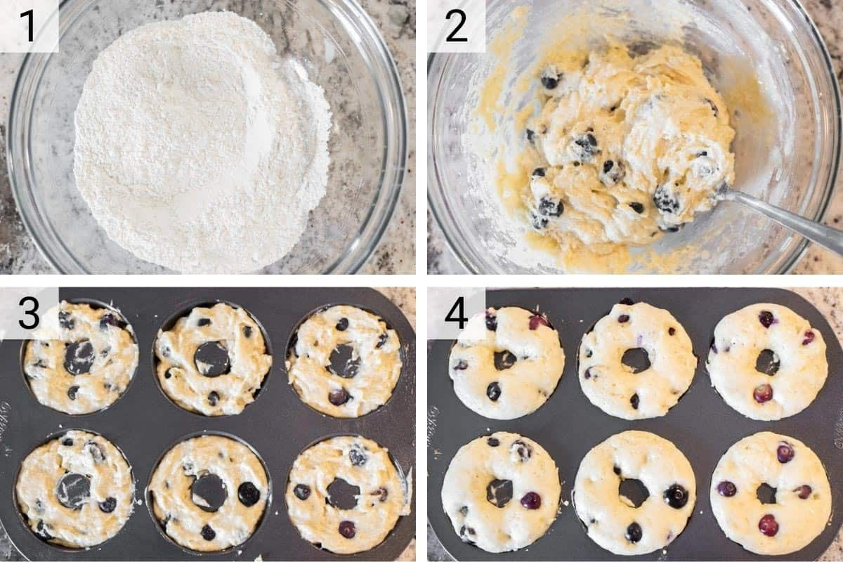 process shots of mixing flour and dough for blueberry donuts