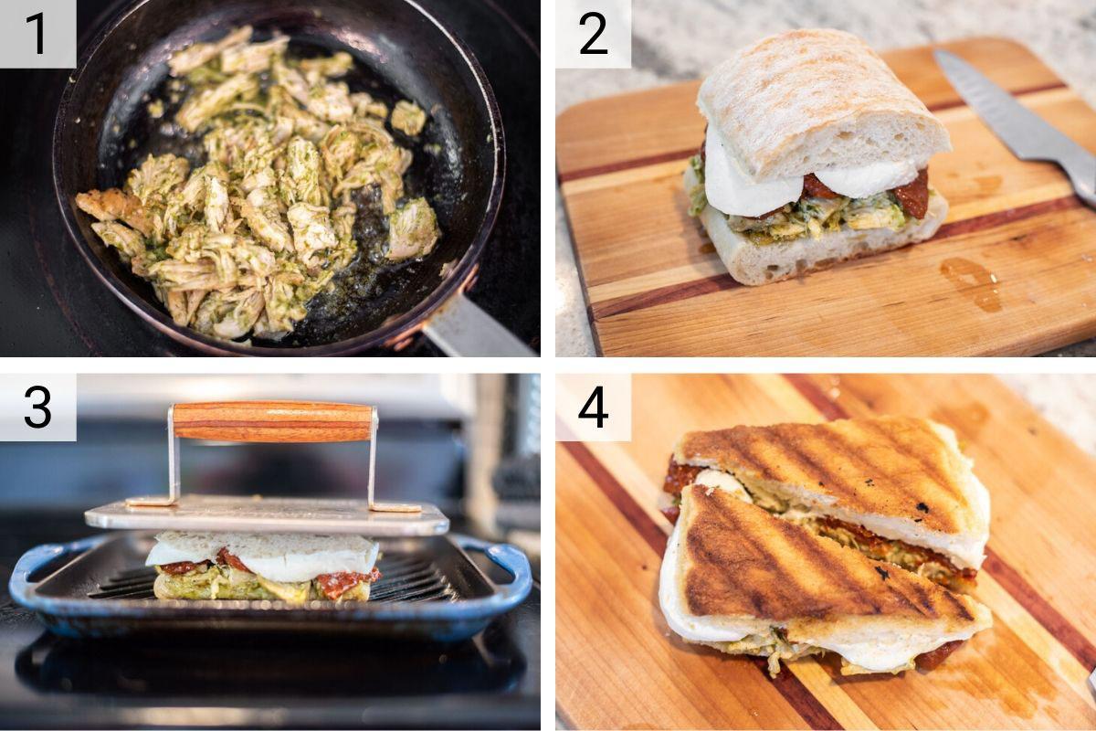 process shots of how to make chicken pesto panini