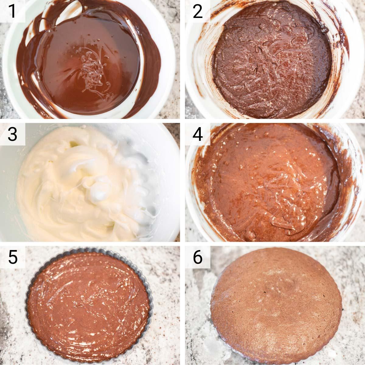 process shots of how to make flourless chocolate cake
