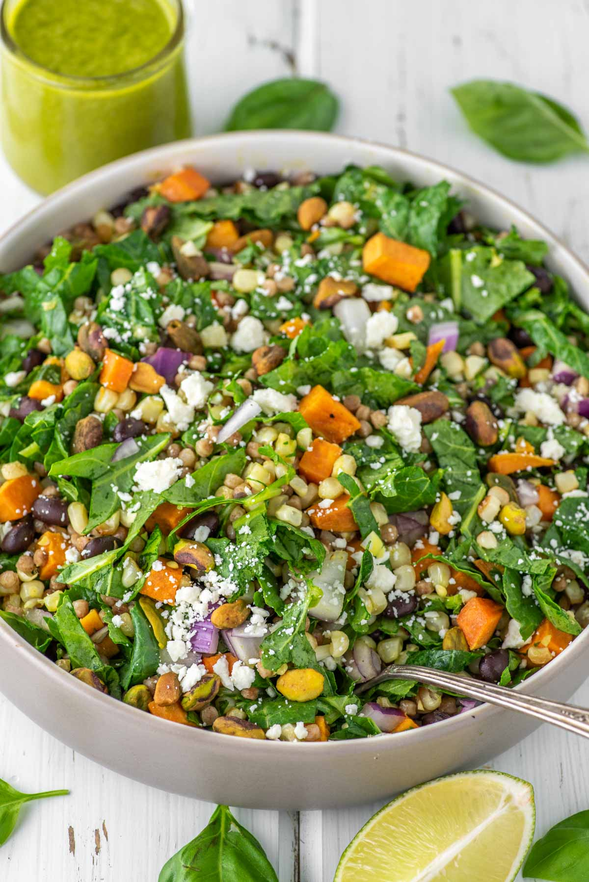 basil lime couscous salad in bowl
