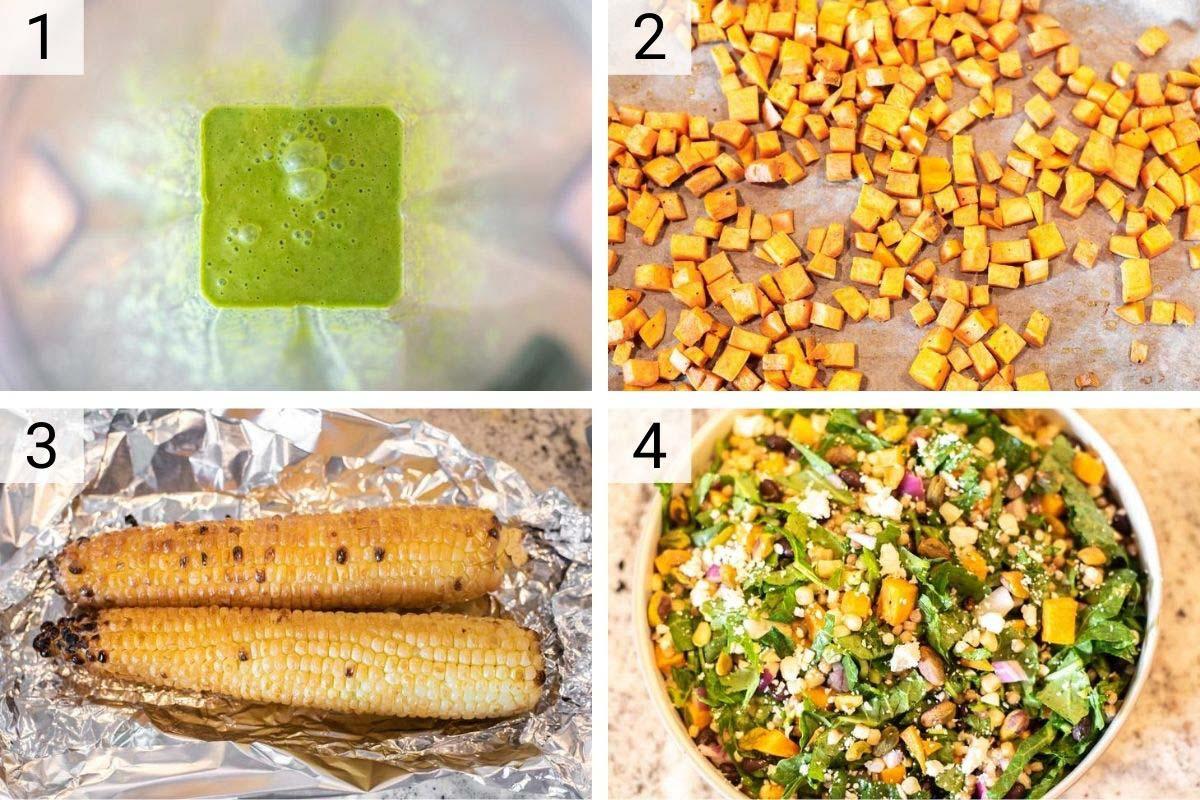 process shots of how to make couscous salad with basil vinaigrette