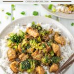 two plates of chicken and broccoli stir fry on jasmine rice