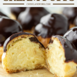 cream puff with chocolate ganache cut in half showing pastry crema