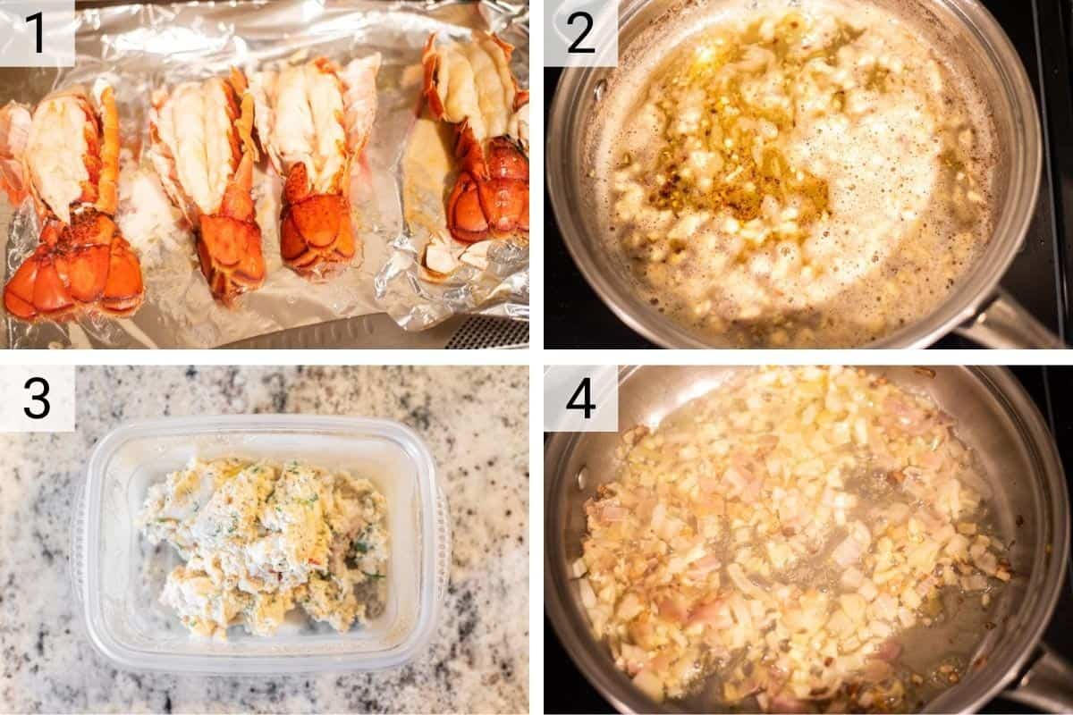process shots of cooking lobster then cooking onions and combing in bowl