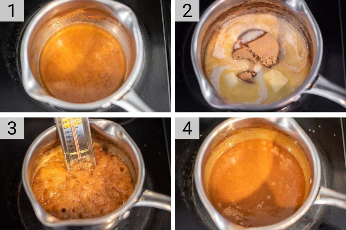 process shots of how to make caramel sauce with apple cider