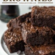 stacked brownies made with Guinness on white plate