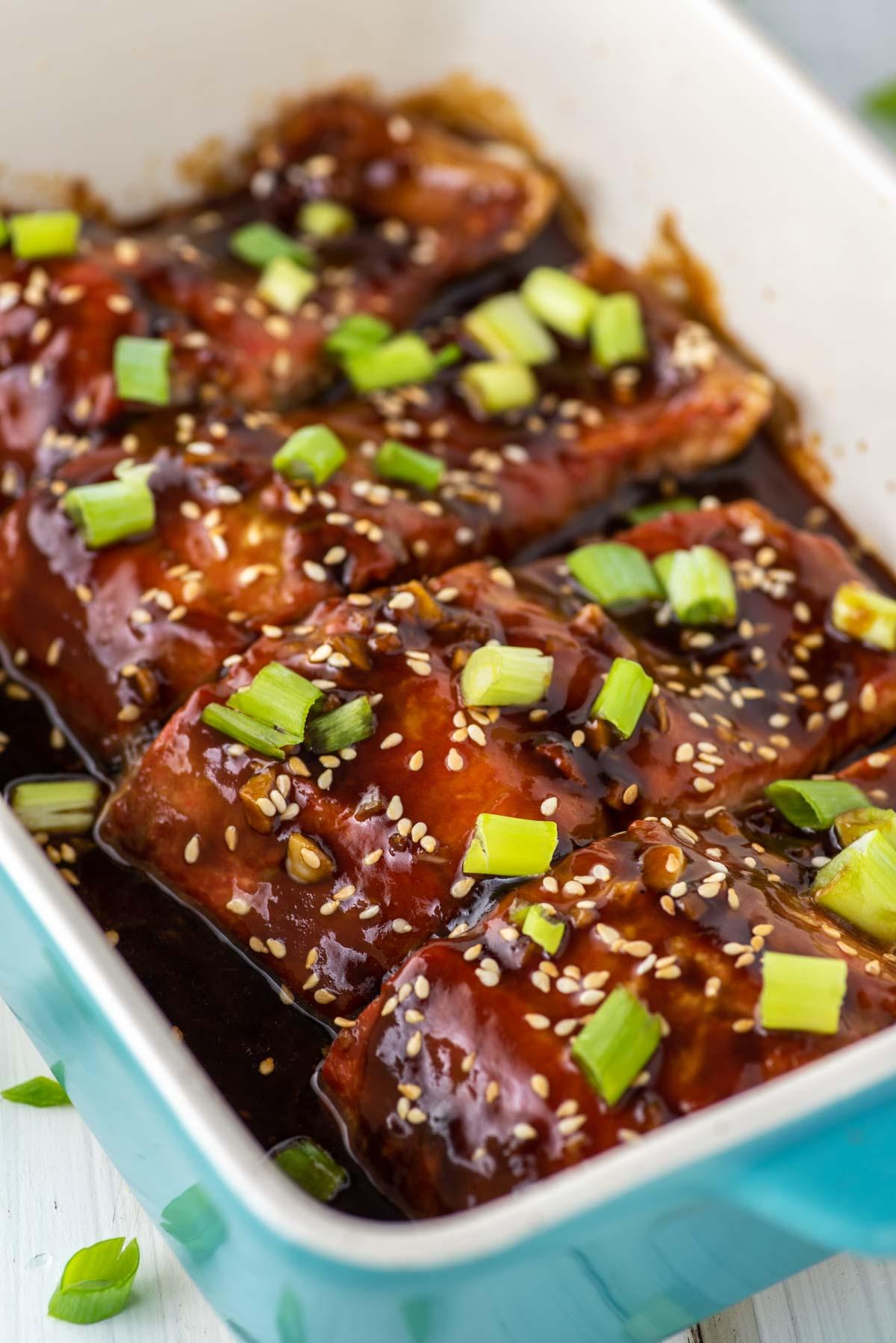 teriyaki salmon in baking dish