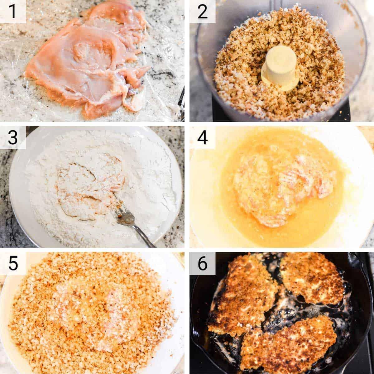 process shots of how to make chicken schnitzel